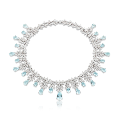 18k White Gold Ghirlanda Atelier Necklace with Aquamarine and Diamonds