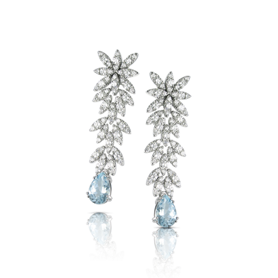 18k White Gold Ghirlanda Earrings with Aquamarine and Diamonds