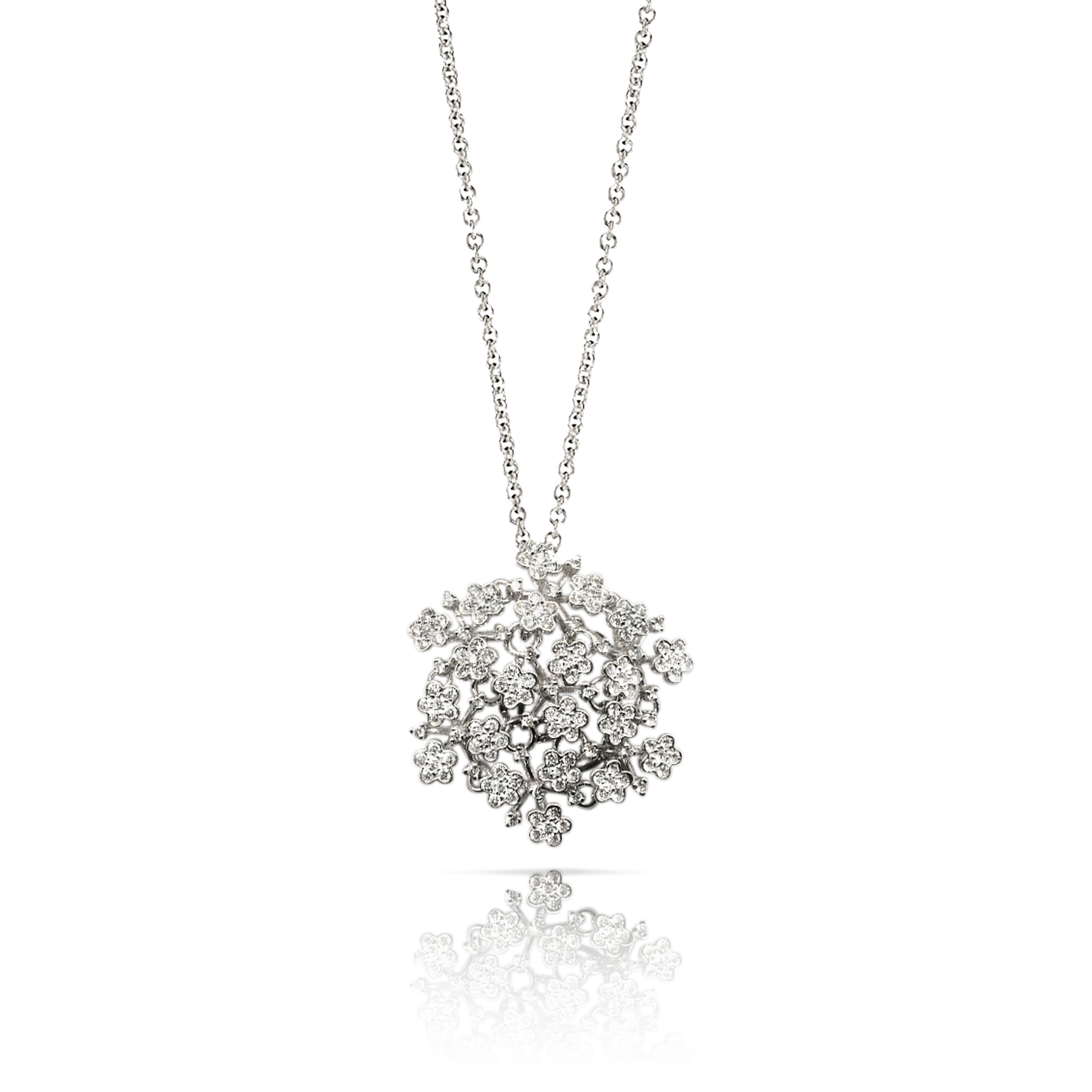 18k White Gold Prato Fiorito Necklace with Diamonds