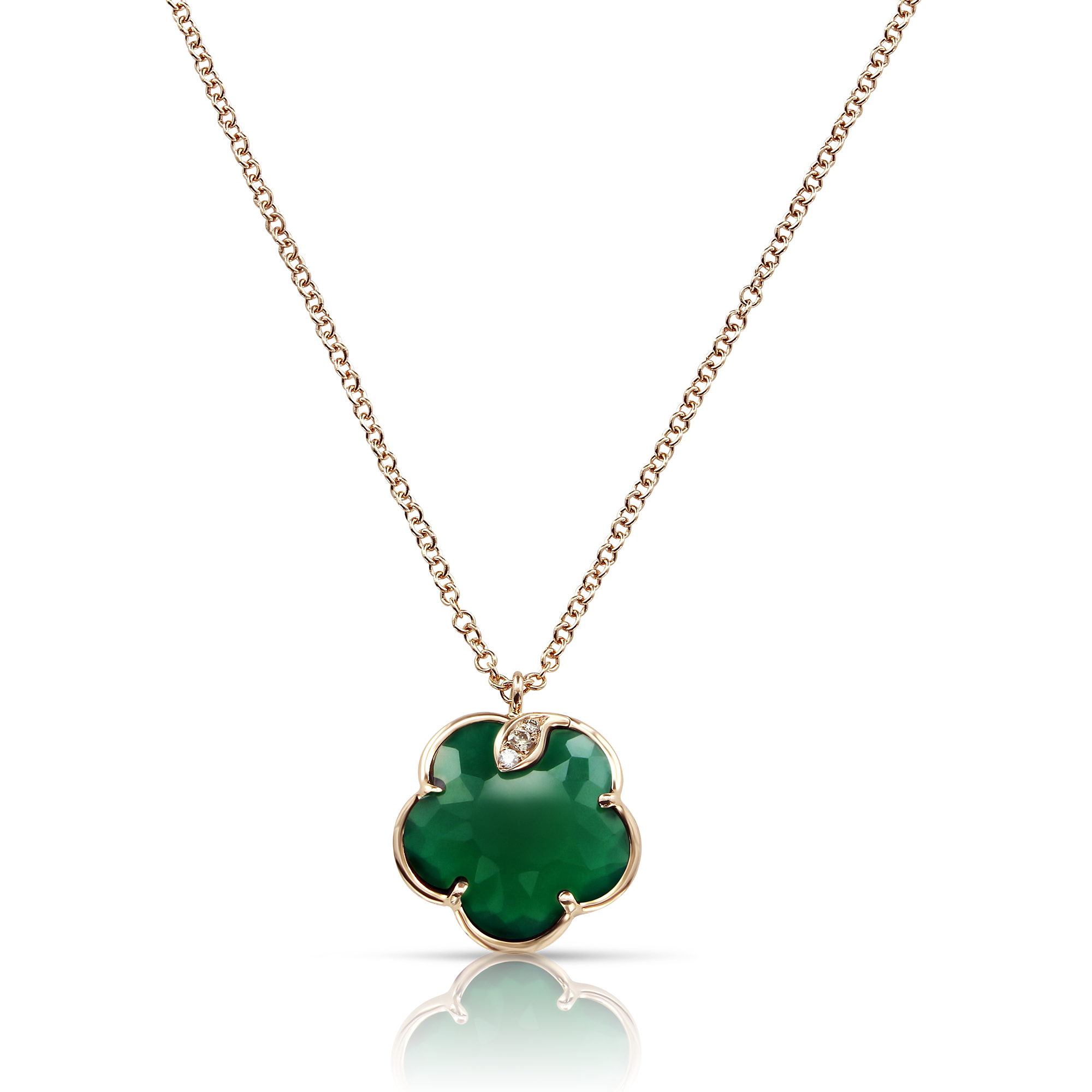 NEW 18k Rose Gold Petit Joli Necklace with Green Agate, White and Champagne Diamonds