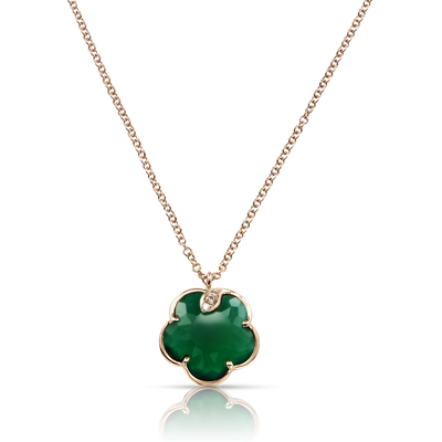 Rose gold necklace with green agate and diamonds