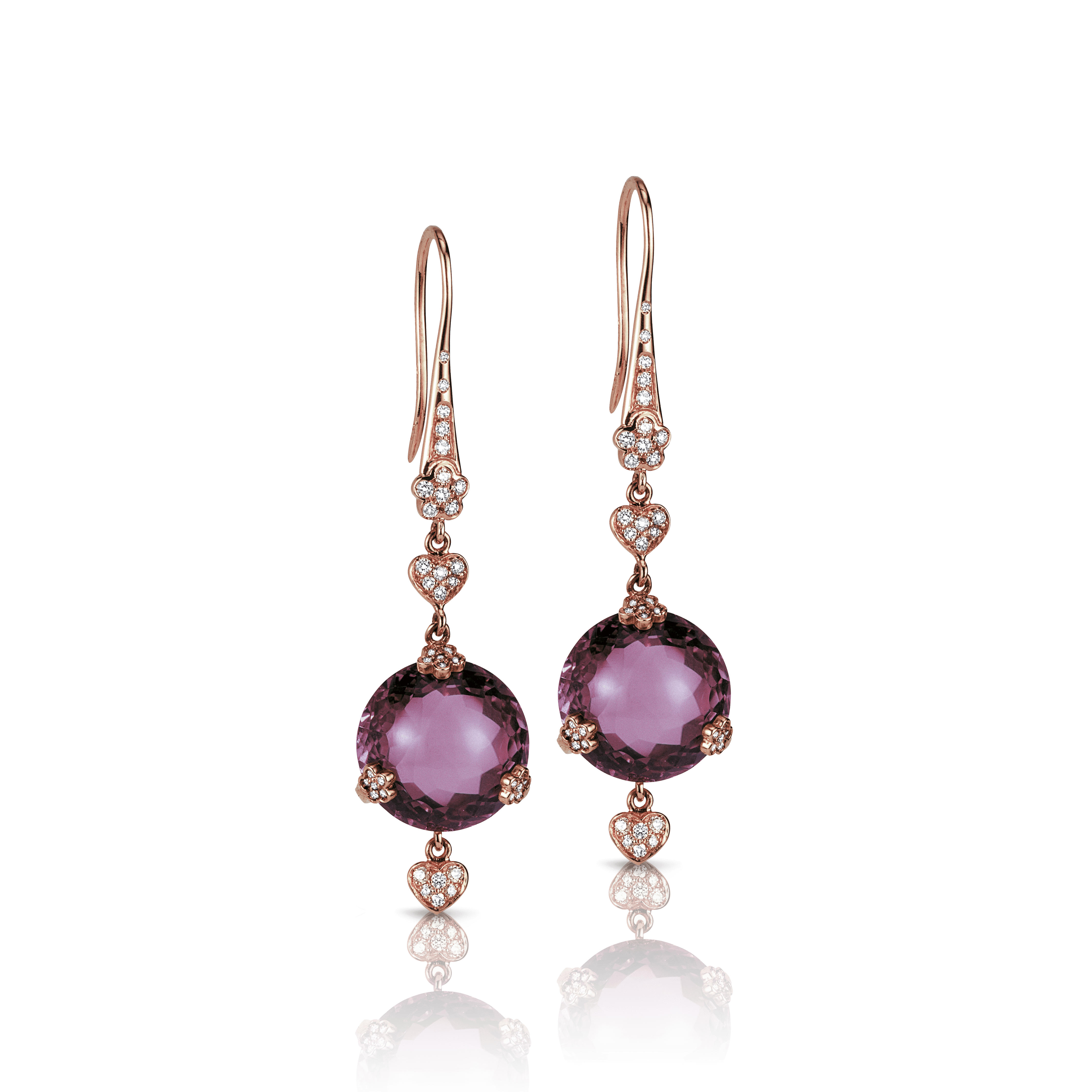 18k Rose Gold Sissi Earrings with Amethyst and Diamonds