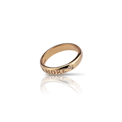 18K Yellow Gold Promessa d'Amore Ring with Diamonds