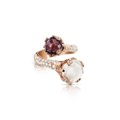 18k Rose Gold Sissi Ring with Amethyst, Milky Quartz, White Topaz and Diamonds