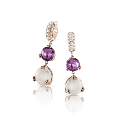 18k Rose Gold Sissi Earrings with Amethyst, Milky Quartz, White Topaz and Diamonds