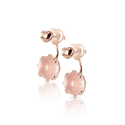 18k Rose Gold Sissi Earrings with Rose Quartz and Diamonds