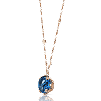 Rose gold necklace with London topaz and diamonds