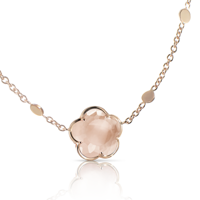 Rose gold necklace with rose quartz