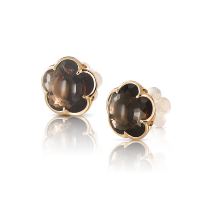 Rose gold earrings with smoky quartz