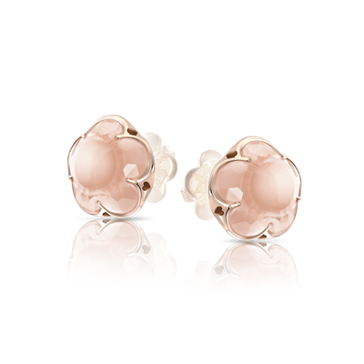 Rose gold earrings with rose quartz