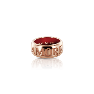 Rose gold ring with enamel