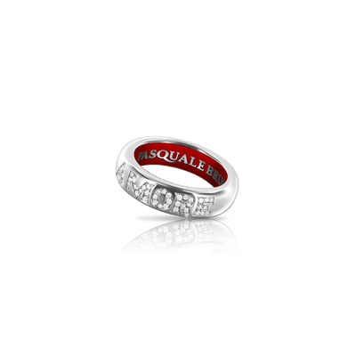 18k White Gold Amore Ring with Diamonds and Enamel