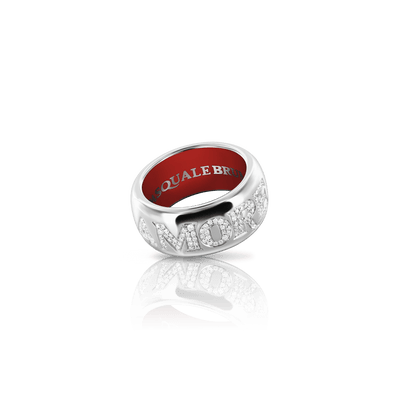 White gold ring with diamonds and enamel
