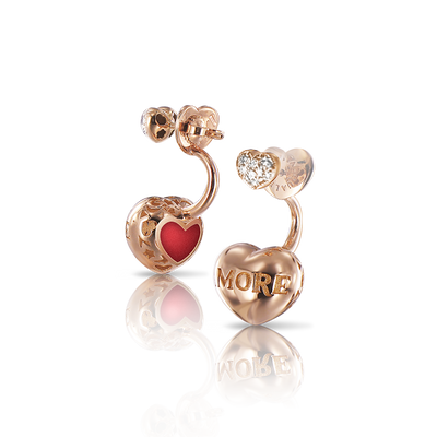 Rose gold earrings with diamonds and enamel