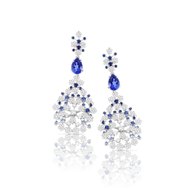 White gold earrings with tanzanite, blue sapphires and diamonds