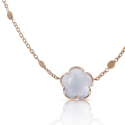18k Rose Gold Bon Ton Necklace with Blue Chalcedony