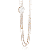 18k Rose Gold Bon Ton Necklace with Milky Quartz and Diamonds