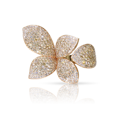 18k Rose Gold Giardini Segreti Ring with White and Champagne Diamonds