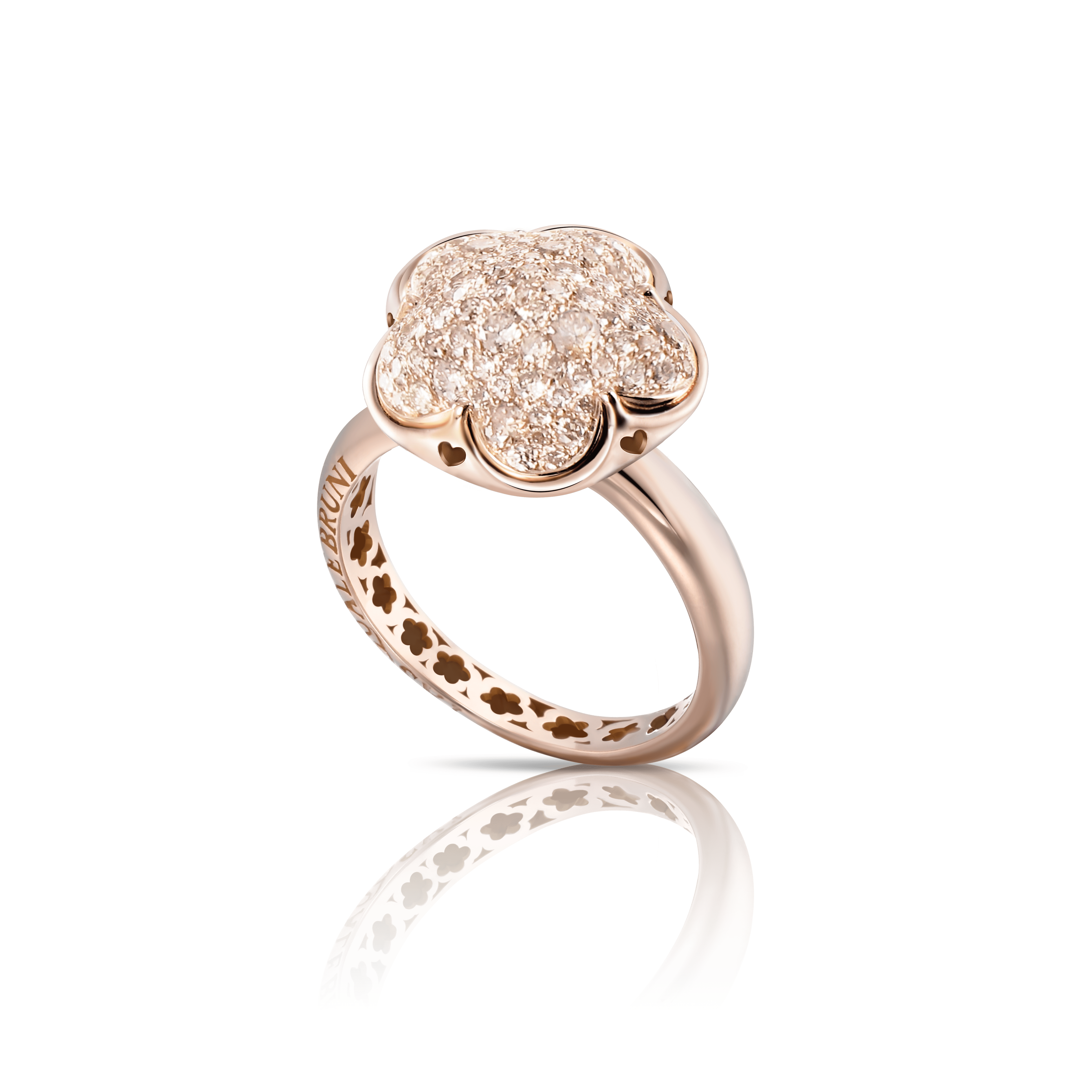 18k Rose Gold Bon Ton Ring with Champagne Diamonds