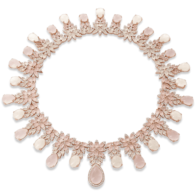 18k Rose Gold Ghirlanda Couture Necklace with Rose Quartz, Moonstone and Diamonds