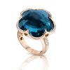 18k Rose Gold Bon Ton Ring with London Blue Topaz and Diamonds