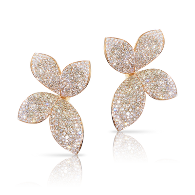 18k Rose Gold Giardini Segreti Earrings with White and Champagne Diamonds