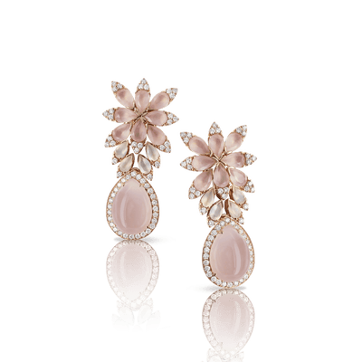 Rose gold earrings with rose quartz, moonstone and diamonds