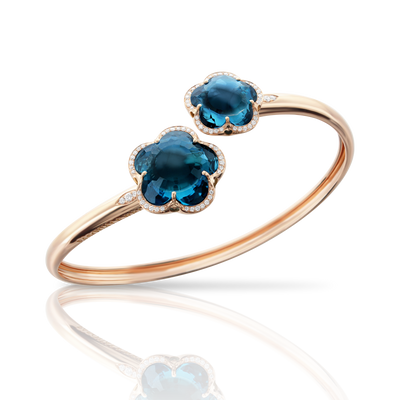 18k Rose Gold Bon Ton Bracelet with London Blue Topaz and Diamonds