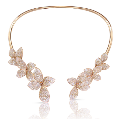 18k Rose Gold Giardini Segreti Necklace with White and Champagne Diamonds