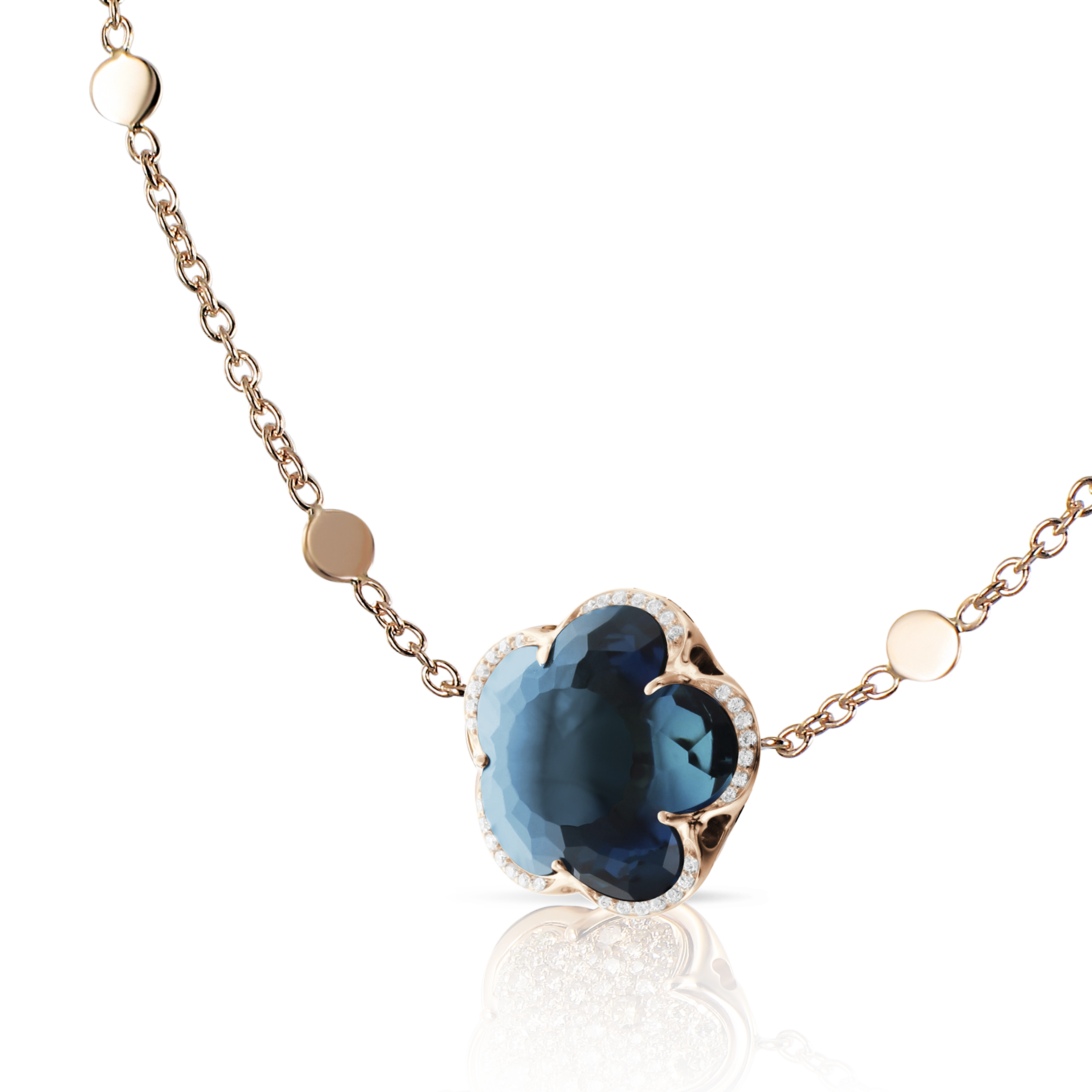 18k Rose Gold Bon Ton Necklace with London Blue Topaz and Diamonds