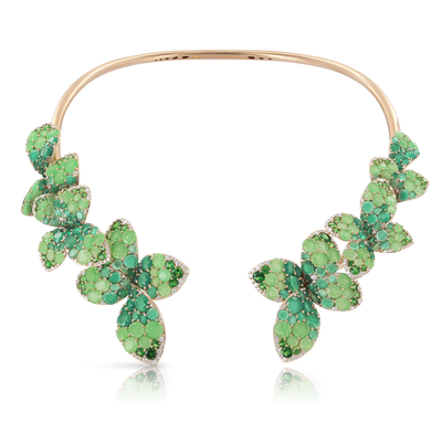 Rose gold necklace with jade, green agate, tsavorite and diamonds