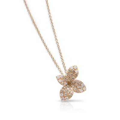 18k Rose Gold Petit Garden Necklace with White and Champagne Diamonds - Small Flower