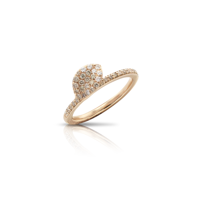 18k Rose Gold Petit Garden Ring with White and Champagne Diamonds