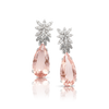 White gold earrings with morganite, white and grey diamonds
