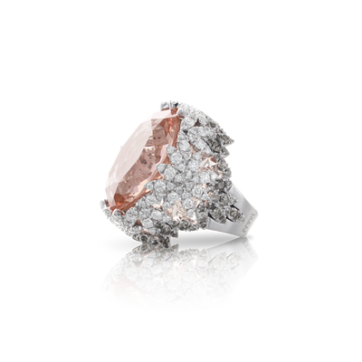 White gold ring with morganite, white and grey diamonds