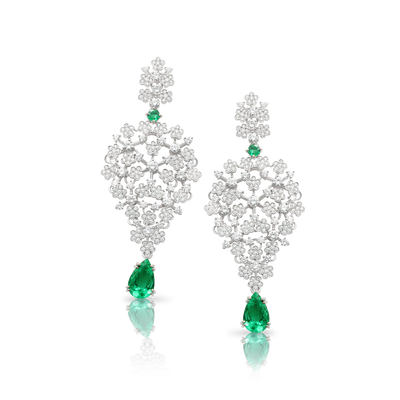 White gold earrings with white diamonds and emerald drops
