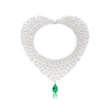 18k White Gold 4 Chakra Necklace with an Emerald Drop and Diamonds