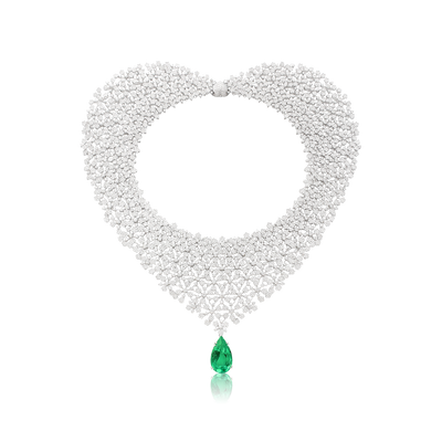 White gold necklace with white diamonds and emerald drop
