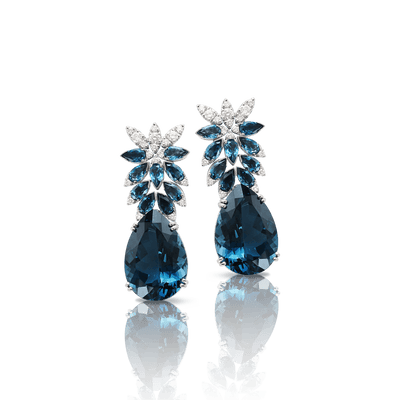 White gold earrings with london topaz and diamonds
