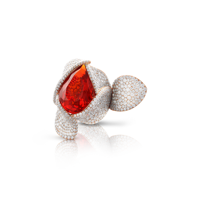 18k Rose Gold Giardini Segreti Atelier Ring with Fire Opal, Orange Sapphires and Diamonds