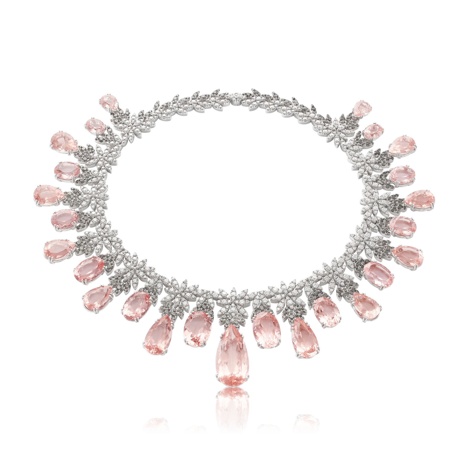 18k White Gold Ghirlanda Haute Couture Necklace with Morganite, White and Grey Diamonds