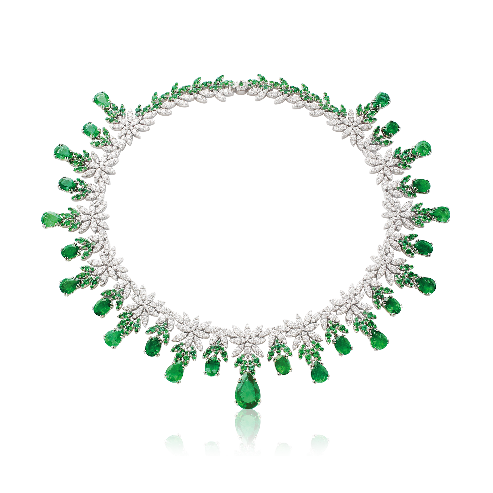 18k White Gold Ghirlanda Haute Couture Necklace with Emeralds and Diamonds