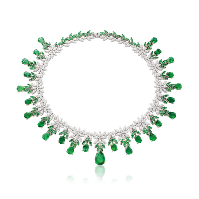 White gold necklace with emeralds and diamonds