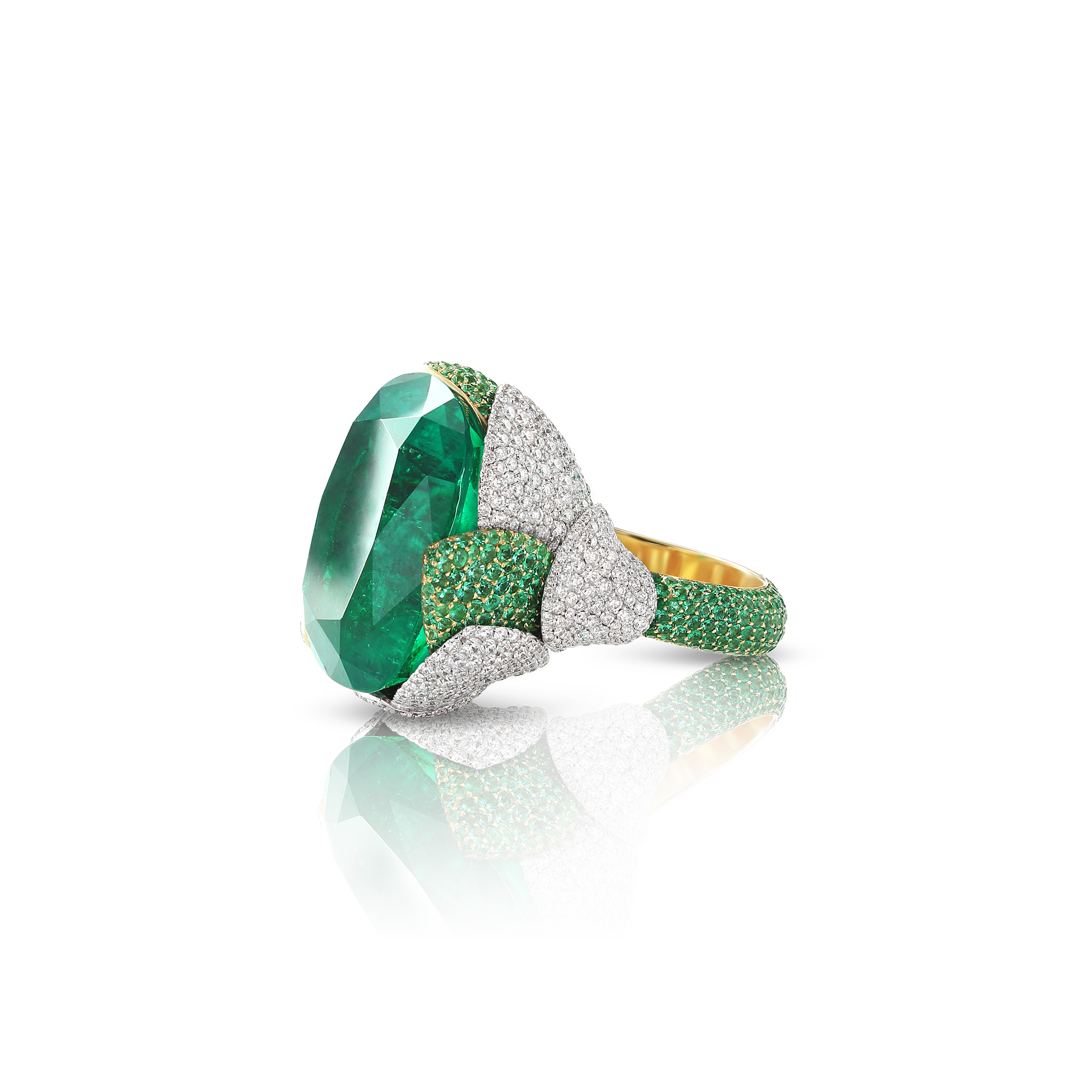 18k White and Yellow Gold Giardini Vento Atelier Ring with Emeralds, Emerald Pavé and Diamonds