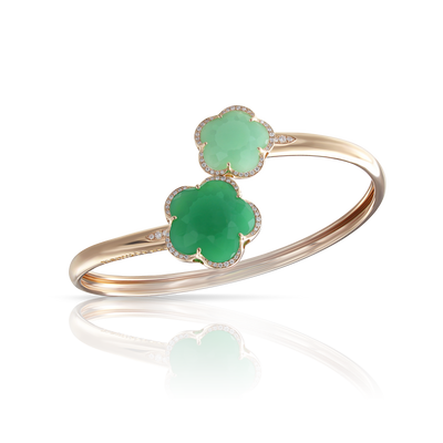 Rose gold bracelet with light and deep green chrysoprase and diamonds