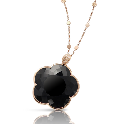 Rose gold necklace with onyx and diamonds
