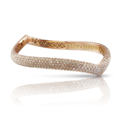 18k Rose Gold Sensual Touch Bracelet with White and Champagne Diamonds