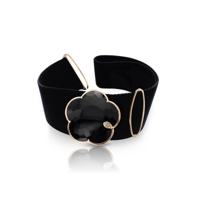 Velvet Ton Joli Choker with 18k Rose Gold Brooch with Onyx, White and Champagne Diamonds