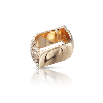 Rose gold ring with white and champagne diamonds