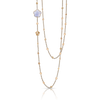 18k Rose Gold Bon Ton Necklace with Blue Chalcedony and Diamonds